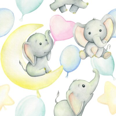 Affisch Cute baby elephants surrounded by balloons, watercolor drawing, on white background. Seamless pattern. For children's holiday, digital paper, and invitations.