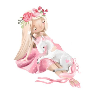 Affisch Cute ballerina, ballet girl with flowers, floral wreath and baby unicorn