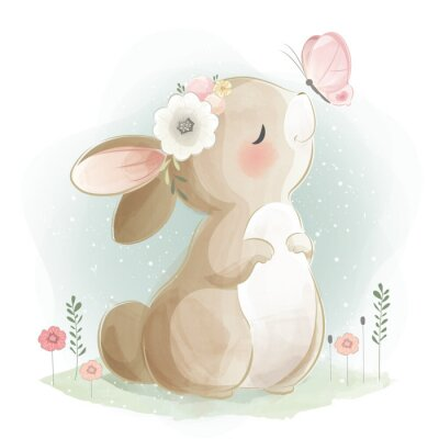 Affisch Cute Bunny and the Butterfly