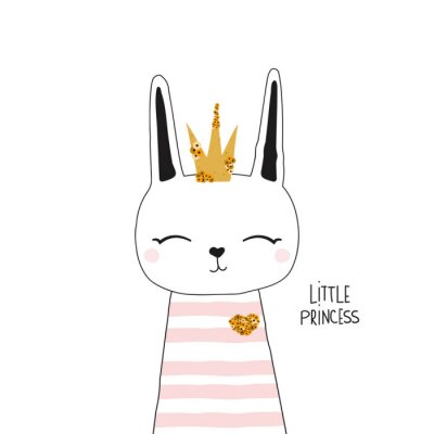 Affisch Cute bunny princess with gold crown. Kids trendy graphic. Vector hand drawn illustration.