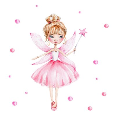 Affisch Cute cartoon fairy with magic wand and wings; watercolor hand draw illustration; with white isolated background