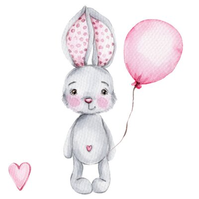 Affisch Cute cartoon little bunny with pink balloon; watercolor hand draw illustration; with white isolated background