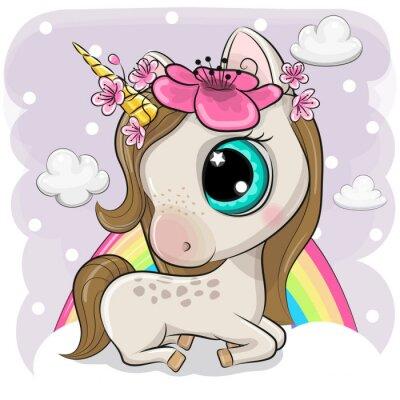 Affisch Cute Cartoon Unicorn on clouds