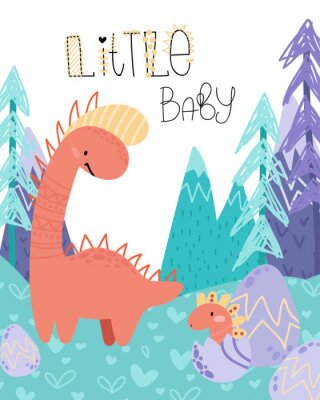 Affisch Cute childish hand drawing. Prehistoric period. Vector scandinavian illustration. Sketch of jurassic reptiles. Cartoon dinosaurs, eggs, mountains. Template baby banner, greeting card, invitation