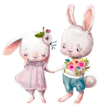 Affisch cute couple of hares