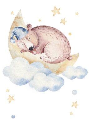 Affisch Cute dreaming cartoon animal hand drawn watercolor illustration. Sleeping charecher kids nursery wear fashion design, baby shower invitation card.