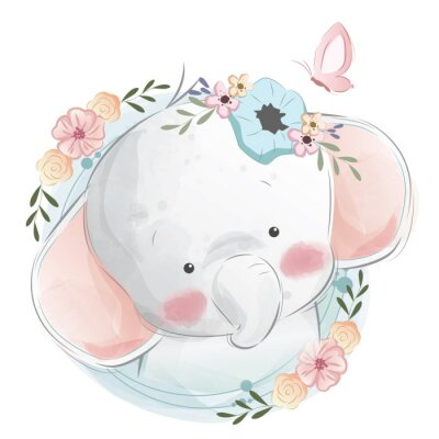 Affisch Cute Elephant Portrait