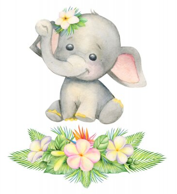 Affisch cute elephant, sitting . Children's painting, watercolor, tropical plants and flowers.