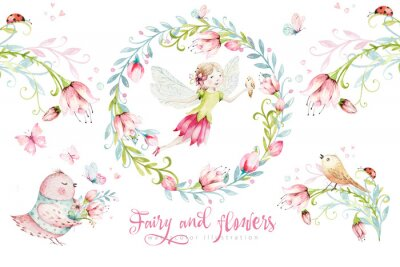 Affisch Cute Fairy character watercolor illustration on white background. Magic fantasy cartoon pink fairytale design. Baby girl birthday