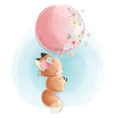 Affisch Cute Fox Flying with Flowery Balloon