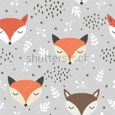 Affisch Cute fox seamless pattern, wolf hand drawn forest background with flowers and dots, vector illustration