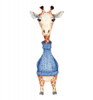 Affisch Cute giraffe cartoon watercolor illustration animal
