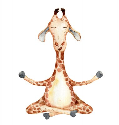 Affisch Cute giraffe in yoga position  cartoon watercolor illustration animal