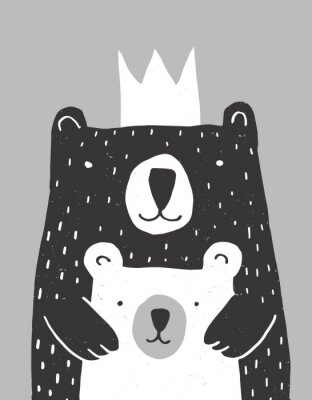 Affisch Cute Hand Drawn Big Bear and Little Baby Bear Vector Illustration. Gender Neutral Colors Nursery Art for Card, Invitation, Father's or Mother's Day. Big Black Daddy or Mommy Bear with White Crown.