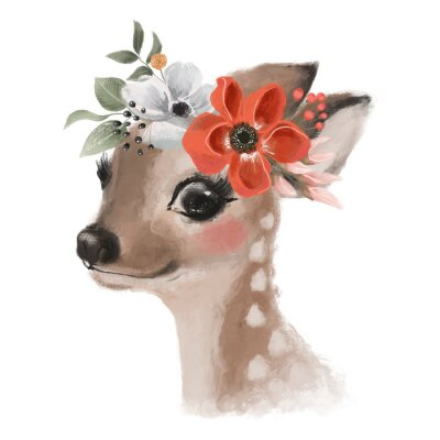 Affisch Cute hand drawn deer, fawn in floral wreath, flowers bouquet, woodland watercolor animal portrait