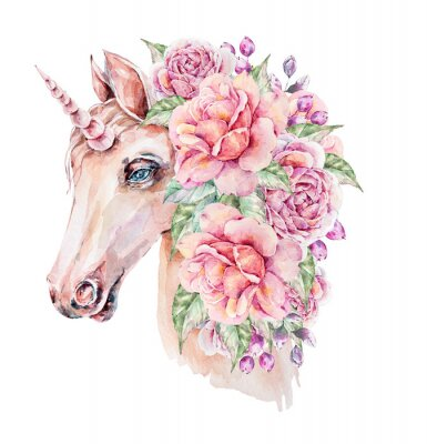 Affisch Cute hand painted watercolor unicorn illustration. Lovely horse in floral wreath. Perfect for logo, wedding or greeting cards, print, pattern