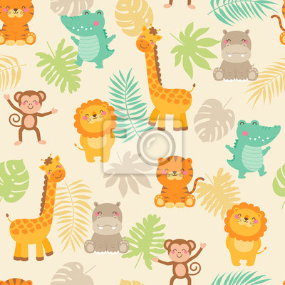 Affisch Cute jungle animals with leaf seamless pattern background