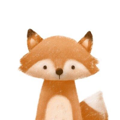 Affisch Cute little fox. Kids print or poster. Hand drawn illustration.