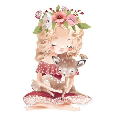 Affisch Cute little girl with a deer, bird and flowers. Best friends watercolor illustration