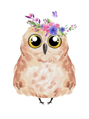 Affisch Cute owl in floral wreath. Watercolor owl set