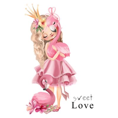 Affisch Cute princess girl in the pink dress and gold crown with flamingo and flowers