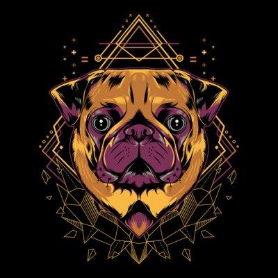 Affisch Cute Pug Dog Vector Crystal Geometry Illustration in Black Background