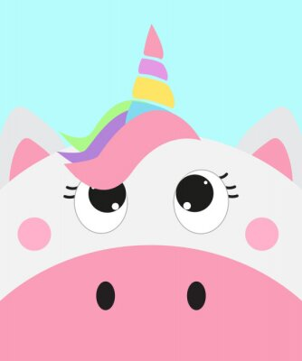 Affisch cute unicorn face, vector illustration