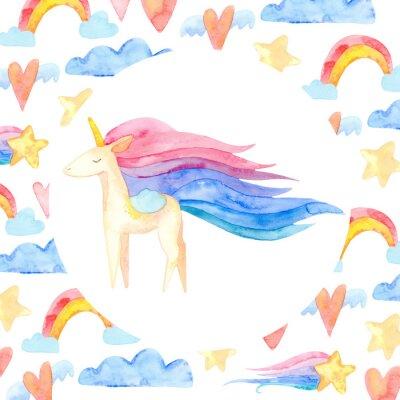Affisch Cute unicorn horse. Fairytale children sweet dream. Rainbow animal horn character. Frame border ornament square. Aquarelle wild animal,  rainbow, heart, stars, clouds