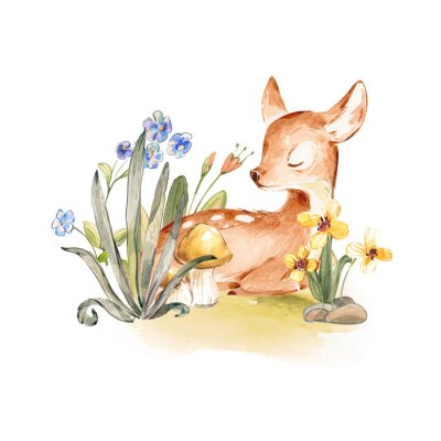Affisch Cute Watercolor Baby Deer with the blue ribbon surrounded by wild flowers and mushrooms over white. Baby Deer sleeping in the forest. Isolated. Nursery print for baby girl oa boy.