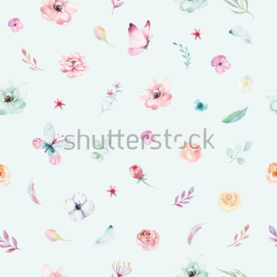 Affisch Cute watercolor unicorn seamless pattern with flowers. Nursery magical unicorn patterns. Princess rainbow texture. Trendy pink cartoon pony horse.