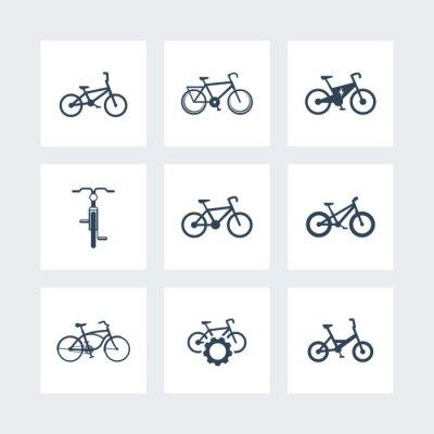 Affisch cykel, cykla, cykel, elektrisk cykel, fett-bike enkla ikoner, vektor