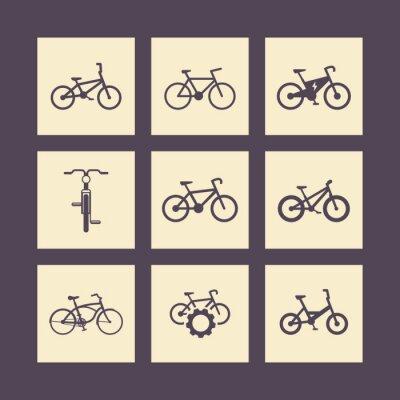 Affisch cykel, cykla, cykel, elektrisk cykel, fett-cykel fyrkantiga ikoner