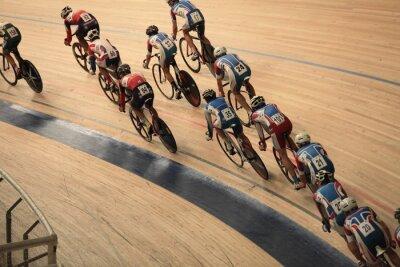 Affisch cyklister att åka snabbt i en kurva ovanifrån