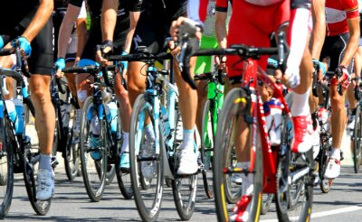 Affisch cyklister under en cykel linjelopp i Europa