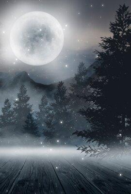 Affisch  Dark abstract winter forest background. Wooden floor, snow, fog. Dark night background in the forest with moonlight. Night view, magic