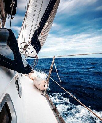 Affisch De vita segel av jakter på bakgrund av havet och himlen i molnen