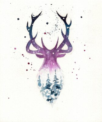 Affisch Deers christmas illustration of watercolor. Greeting card.