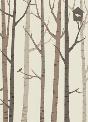 Affisch dekorativa silhuetter av träd med en fågel och fågelholk