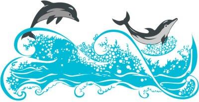 Affisch Delfiner hoppa i vågorna