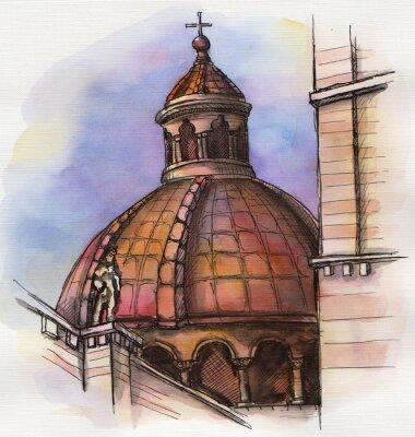 Affisch den berömda byggnaden Santa Maria akvarell Florens hand ritning
