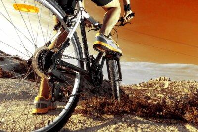 Affisch Deportes. Bicicleta de montaña y hombre.Deporte sv exteriör