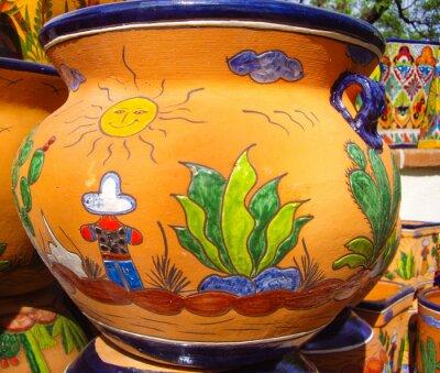 Affisch Desert vista design på mexikanska keramik