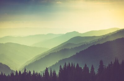 Affisch Dimmig sommar berg kullar landskap.
