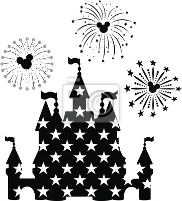 Affisch Disney Castle Fireworks, EPS 10,  disney, new year,  mickey mouse head,