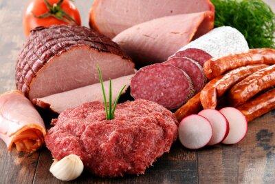 Affisch Diverse köttprodukter inklusive skinka och korv