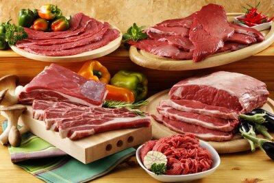 Affisch diverse rått nötkött