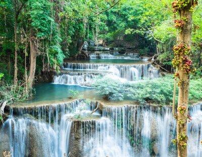Affisch Djup skog vattenfall på Huay Mae Kamin, Kanchanaburi, Thailand