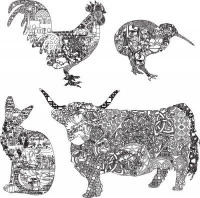 Affisch djur i etniska prydnader