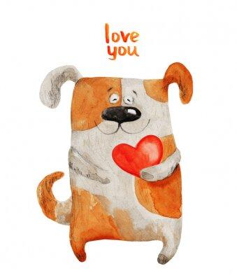 Affisch Dog leende med hjärta. akvarell illustration