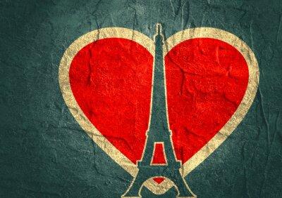 Affisch Eiffeltornet i Paris. Kontur silhuett. Gradient strålande bakgrund